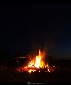 Burning campfire at dark night - 8